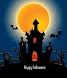 Allhelgonaaftonbakgrund med den fulla orange månen Royaltyfri Foto
