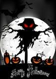 Allhelgonaaftonbakgrund med spöken och pumpor på fullmånen Arkivfoton