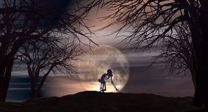 Allhelgonaaftonbakgrund med spöklika träd Royaltyfri Bild