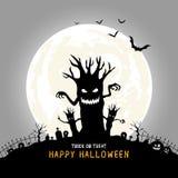 Allhelgonaaftonbakgrundsdesign läskigt träd för kontur med måneljus stock illustrationer