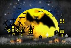 Allhelgonaaftonbegreppet med nightly fasa-, dimma- och gräs- och pumpabränningflammor med slottar och gravar fyllde med kors stock illustrationer