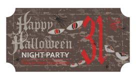 Allhelgonaaftonbiljett för partiet, 31 oktober, tappningstil Royaltyfri Foto