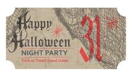 Allhelgonaaftonbiljett för partiet, 31 oktober, tappningstil Royaltyfri Bild
