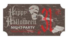 Allhelgonaaftonbiljett för partiet, 31 oktober, tappningstil Royaltyfria Bilder