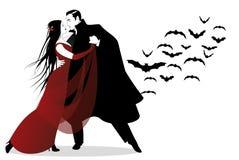 Allhelgonaaftondansparti Romantisk vampyrpardans stock illustrationer