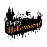 Allhelgonaaftondesign med illustrationen för halloween sloganvektor stock illustrationer