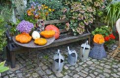 Allhelgonaaftonen dekorerade i en trädgård med olika format- och formpumpor Arkivfoto