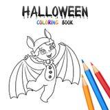 Allhelgonaaftonfärgläggningbok Gulligt behandla som ett barn tecknad filmteckenet royaltyfri illustrationer