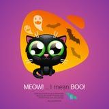 Allhelgonaaftonhälsningkort med katten Royaltyfri Foto