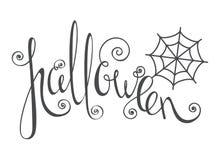 Allhelgonaaftoninskrift med spindelrengöringsduk Royaltyfria Bilder