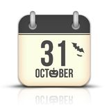 Allhelgonaaftonkalendersymbol med reflexion. 31 Octobe Arkivfoton