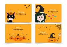 Allhelgonaaftonkort, inbjudanhälsning, lyckliga ungar samling, gullig plan design för katt-, häxa-, godis- och pumpapartibaner fö royaltyfri illustrationer