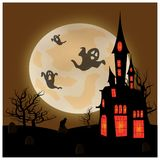 Allhelgonaaftonlandskap med månen, slotten och spökar royaltyfri illustrationer