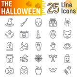 Allhelgonaaftonlinjen symbolsuppsättningen, spöklika symboler samlingen, vektor skissar, logoillustrationer, fasatecken vektor illustrationer