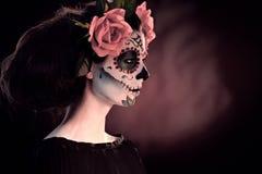 AllhelgonaaftonmakeupSanta Muerte maskering Royaltyfria Bilder