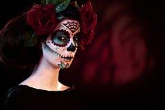AllhelgonaaftonmakeupSanta Muerte maskering Arkivfoto