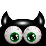 Allhelgonaaftonmonster med gröna ögon med stället för text vektor illustrationer