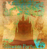 Allhelgonaaftonnattbakgrund - spökat hus Arkivfoto