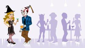 Allhelgonaaftonparti, häxa och undead stock illustrationer