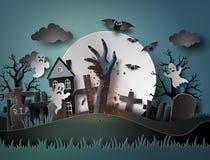 Allhelgonaaftonparti med spöken och kyrkogård i fullmoon Arkivbild