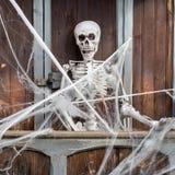 Allhelgonaaftonsammansättning med skelettet Royaltyfria Foton