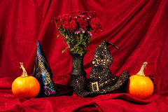 Allhelgonaaftonstilleben med pumpor, häxahattar och blommor Arkivbild