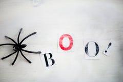 Allhelgonaaftonsymboler Boo Letters i spindelrengöringsduk på träBackgroun Royaltyfri Bild