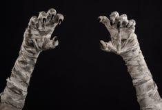 Allhelgonaaftontema: ruskiga gamla mammahänder på en svart bakgrund Arkivfoton