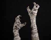 Allhelgonaaftontema: ruskiga gamla mammahänder på en svart bakgrund Arkivfoto