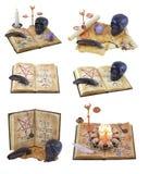 Allhelgonaaftonuppsättning med den magiska boken Arkivfoton