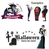 Allhelgonaaftonvampyr i kista, Draculas monster i illustrationer för kappalägenhetvektor, goda för gothpartiinbjudan eller Arkivfoto