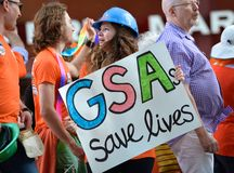 Alliance droit gai dans la fierté gaie 2014 d'Edmonton Photographie stock