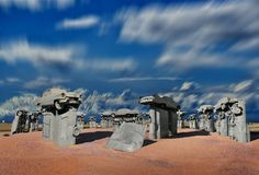 The famous carhenge at a field in Alliance, Nebraska, USA stock photos