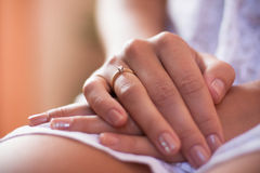 Alliance rings. On the beautiful bride hand Royalty Free Stock Photography