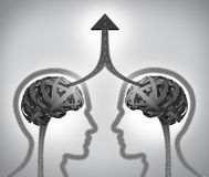 Alliance Success. Business concept as a group of roads and streets shaped as two human heads with a tangled brain merging together through team management in Stock Photos