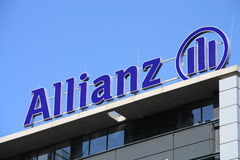 Allianz. Logo sign on blue sky background.  is one of the largest financial services providers in the world, headquartered in Munich, Germany. Its core business royalty free stock photography