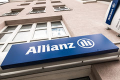 Allianz. Abstract angle on a sign of the german Allianz insurance with copy space above it royalty free stock image