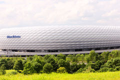 Allianz Arena. Famous landmark, exterior of the Allianz Arena in Munich, Germany. Seen from the hill royalty free stock photo