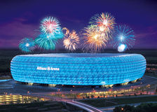 Allianz Arena celebration with colorful fireworks Royalty Free Stock Images