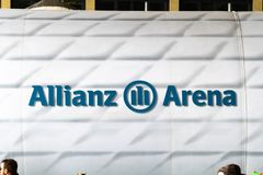 Allianz Arena emblem. Berlin, Germany - May 25, 2019: Allianz Arena sign. Allianz Arena is a football stadium in Munich with a 75,000 seating capacity widely royalty free stock image