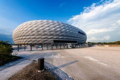 Allianz Arena - Football Stadium - Munich Germany. MUNICH, GERMANY - SEPT 7, 2018: Allianz Arena Fussball Arena Munchen, Schlauchboot, the home football stadium royalty free stock image