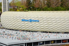 Allianz Arena is a football stadium in Munich, from plastic lego block Stock Photography
