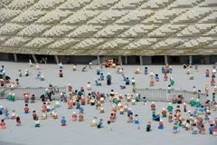 Allianz Arena is a football stadium in Munich, from plastic lego block Stock Photo