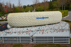 Allianz Arena is a football stadium in Munich, from plastic lego block Royalty Free Stock Photos