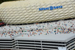 Allianz Arena is a football stadium in Munichmade from plastic lego block Stock Image