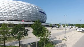 Allianz arena i parking, widok z lotu ptaka od trutnia zbiory