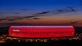 Allianz Arena, illuminated, Munich, Upper Bavaria, Bavaria. Famous football stadium Allianz Arena in Munich, Bavaria, Germany, Europe stock video footage