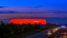 Allianz Arena, illuminated, Munich, Upper Bavaria, Bavaria. Famous football stadium Allianz Arena in Munich, Bavaria, Germany, Europe stock video