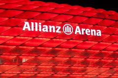 Allianz Arena illuminated at night, Munich Royalty Free Stock Image