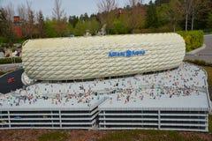 Allianz arena jest stadionem futbolowym w Monachium, od plastikowego lego bloku Zdjęcia Royalty Free